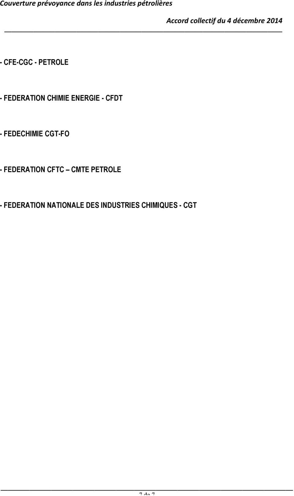 FEDERATION CFTC CMTE PETROLE - FEDERATION
