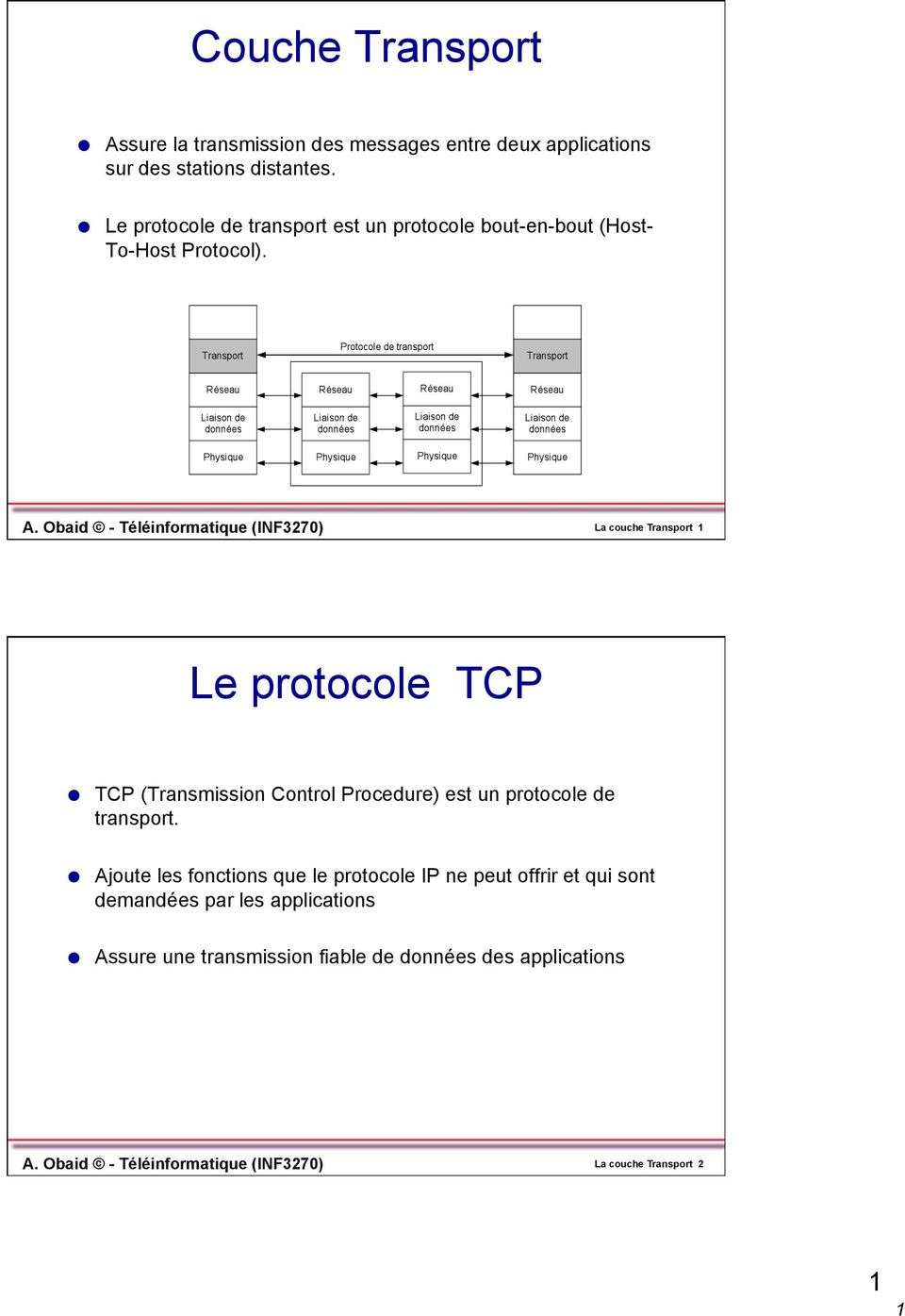 Obaid - Téléinformatique (INF3270) La couche Transport 1 Le protocole TCP TCP (Transmission Control Procedure) est un protocole de