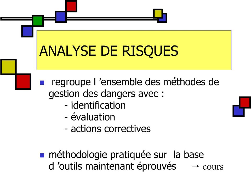identification - évaluation - actions correctives