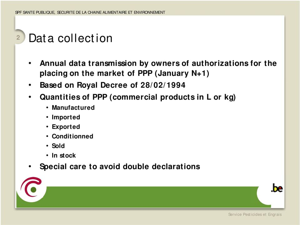 28/02/1994 Quantities of PPP (commercial products in L or kg) Manufactured