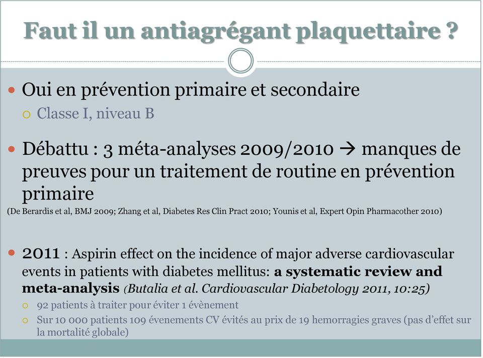 Berardis et al, BMJ 2009; Zhang et al, Diabetes Res Clin Pract 2010; Younis et al, Expert Opin Pharmacother 2010) 2011 : Aspirin effect on the incidence of major adverse