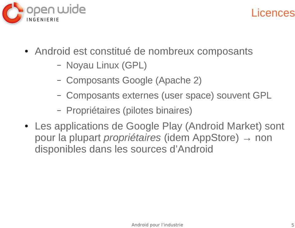 Propriétaires (pilotes binaires) Les applications de Google Play (Android