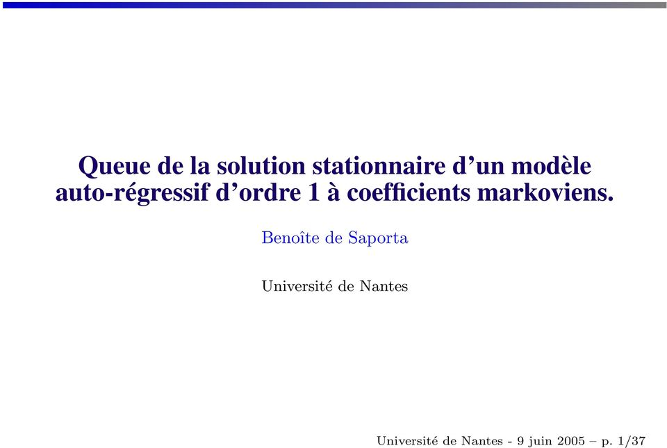 coefficients markoviens.