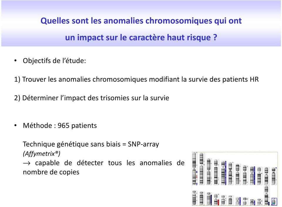 patients HR 2) Déterminer l impact des trisomies sur la survie Méthode : 965 patients
