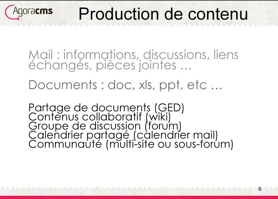 documents (GED) Contenus collaboratif (wiki) Groupe de discussion