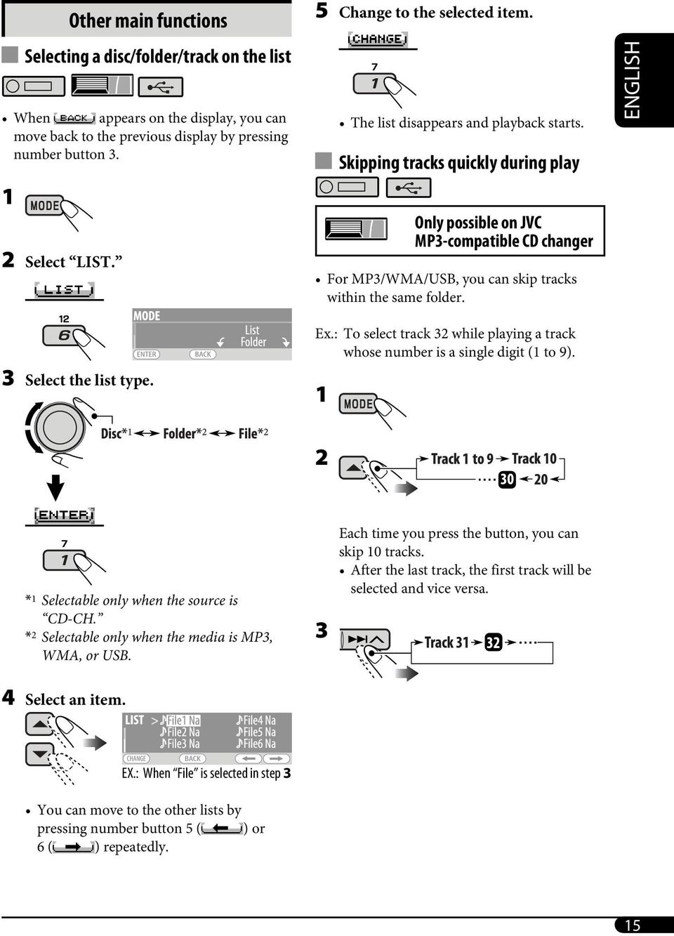 Skipping tracks quickly during play Only possible on JVC MP3-compatible CD changer For MP3/WMA/USB, you can skip tracks within the same folder. ENGLISH 3 Select the list type. Ex.