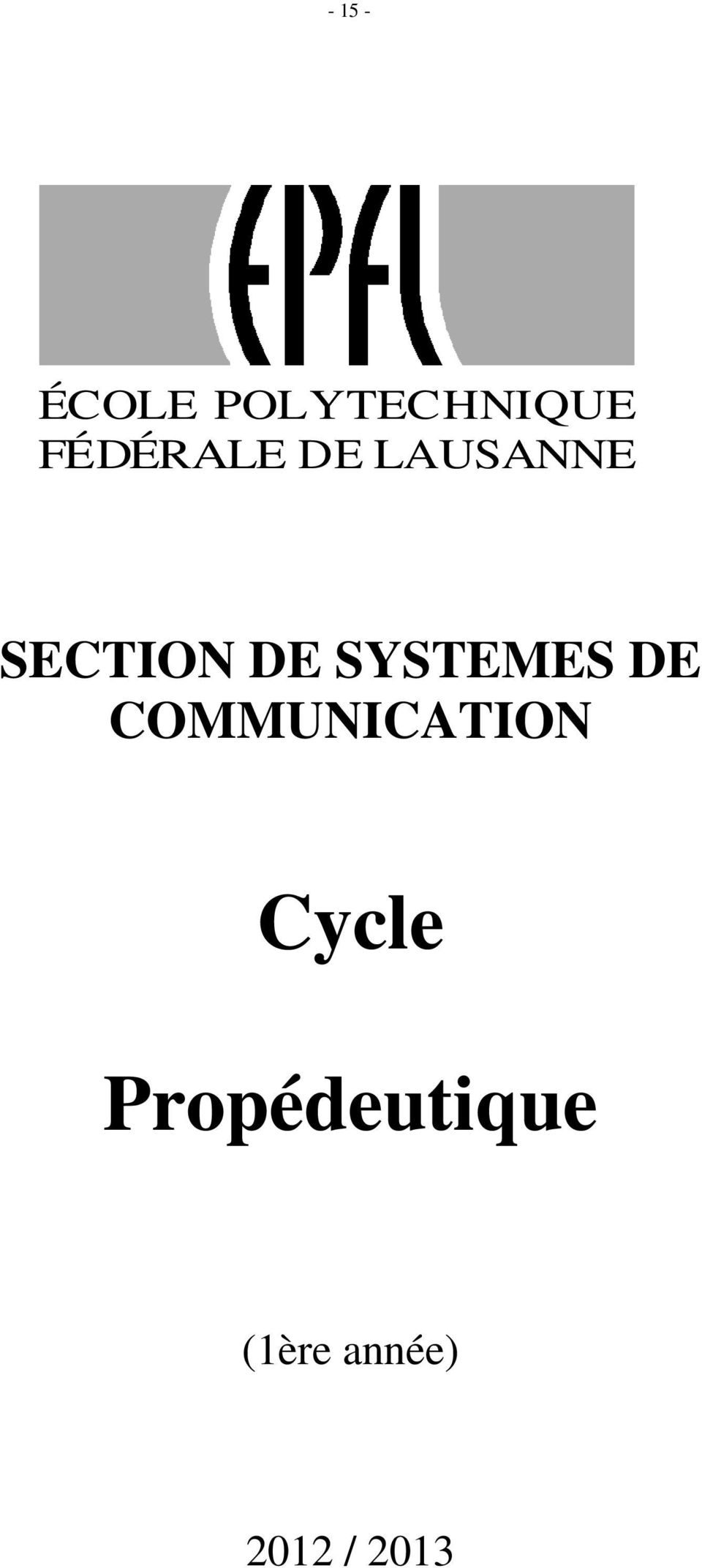 SYSTEMES DE COMMUNICATION Cycle