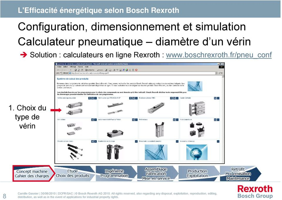 Solution : calculateurs en ligne Rexroth : www.