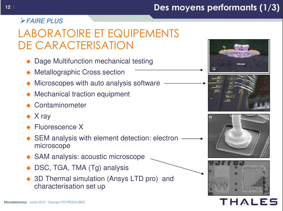 equipment Contaminometer X ray Fluorescence X SEM analysis with element detection: electron microscope SAM