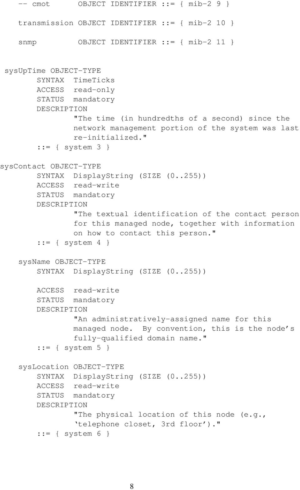 """ ::= { system 3 } syscontact OBJECT-TYPE SYNTAX DisplayString (SIZE (0."