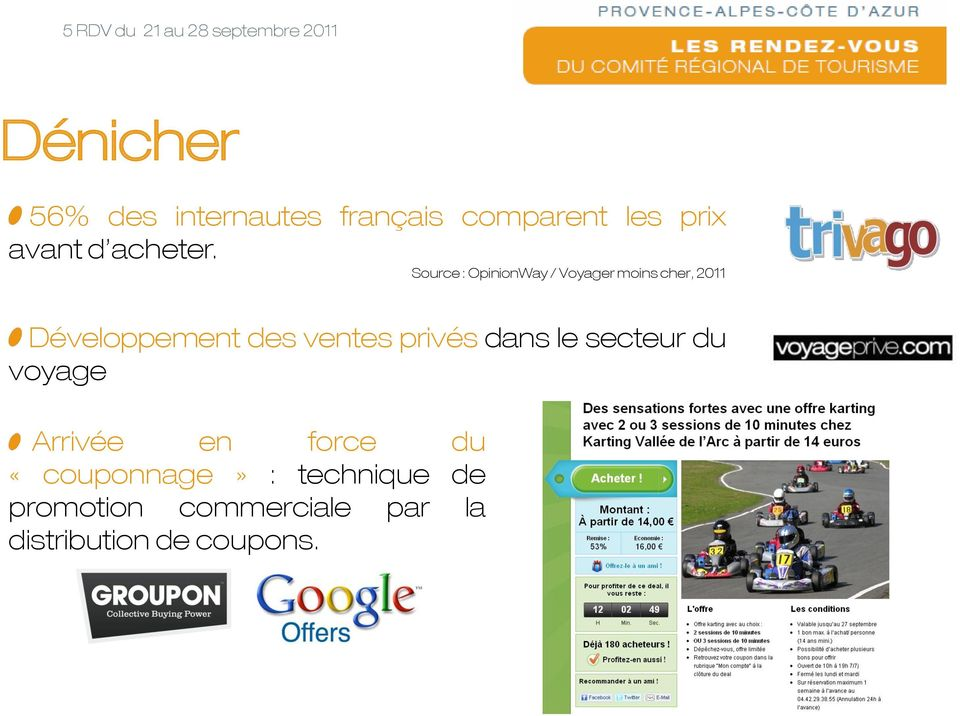 Source : OpinionWay / Voyager moins cher, 2011 Développement des