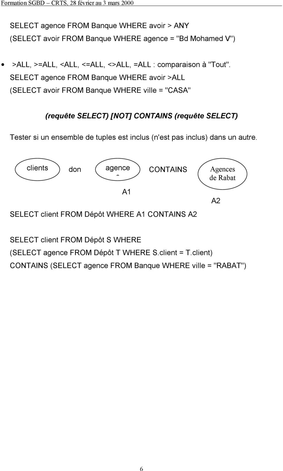 "SELECT agence FROM Banque WHERE avoir >ALL (SELECT avoir FROM Banque WHERE ville = ""CASA"" (requête SELECT) [NOT] CONTAINS (requête SELECT) Tester si un"