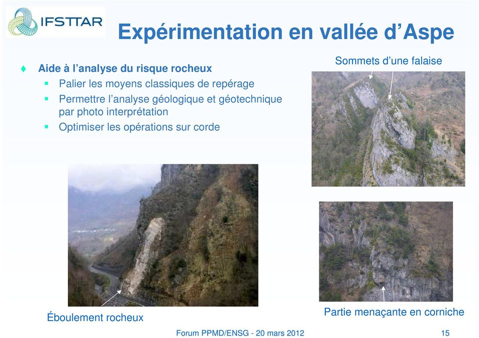 photo interprétation Optimiser les opérations sur corde Sommets d une falaise Photos