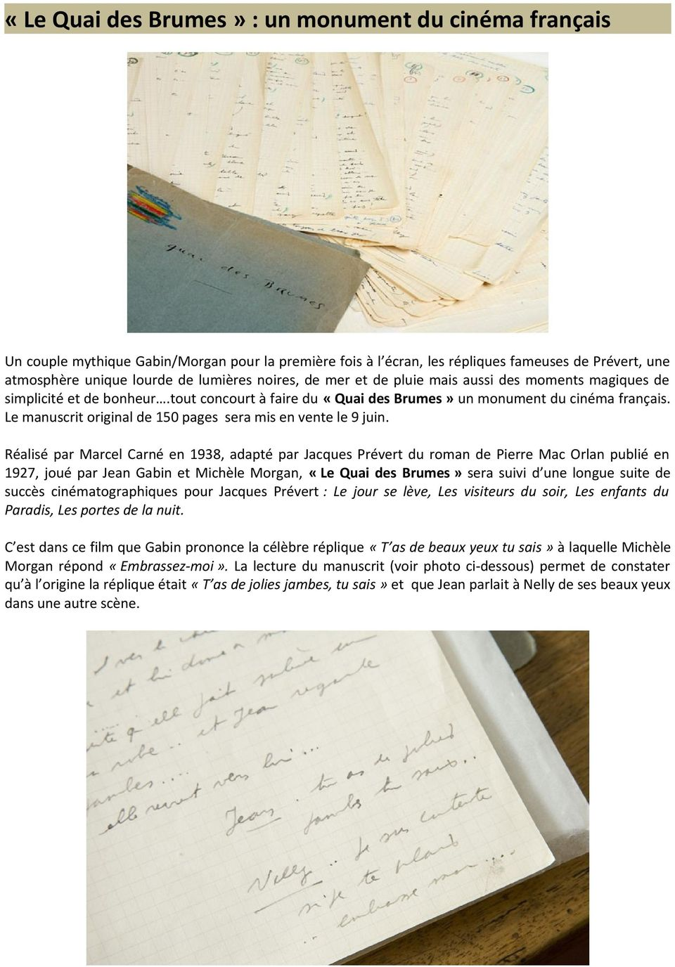 Le manuscrit original de 150 pages sera mis en vente le 9 juin.