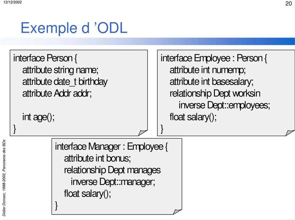 manages inverse Dept::manager; float salary(); } interface Employee : Person{ attribute int