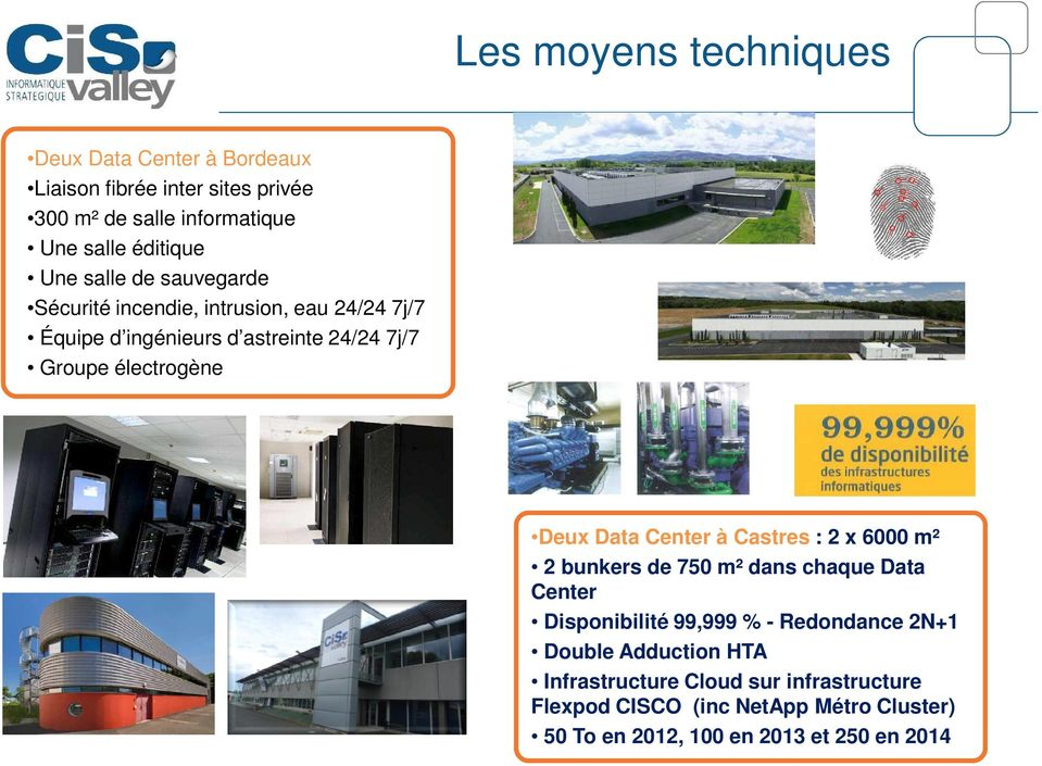 Deux Data Center à Castres : 2 x 6000 m² 2 bunkers de 750 m² dans chaque Data Center Disponibilité 99,999 % - Redondance 2N+1 Double