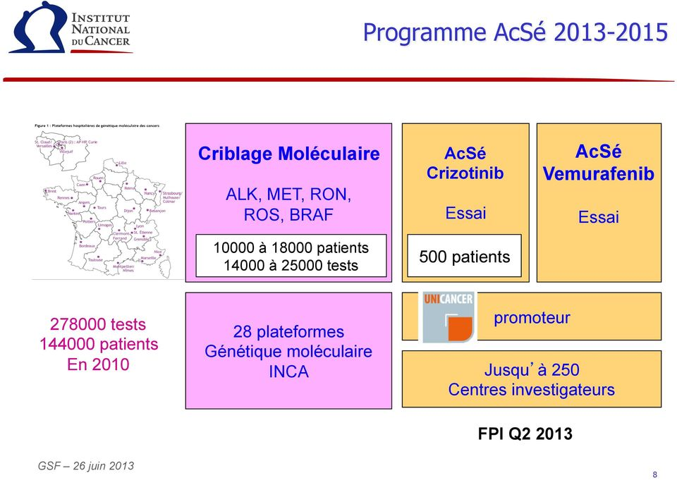 Vemurafenib Essai 278000 tests 144000 patients En 2010 28 plateformes