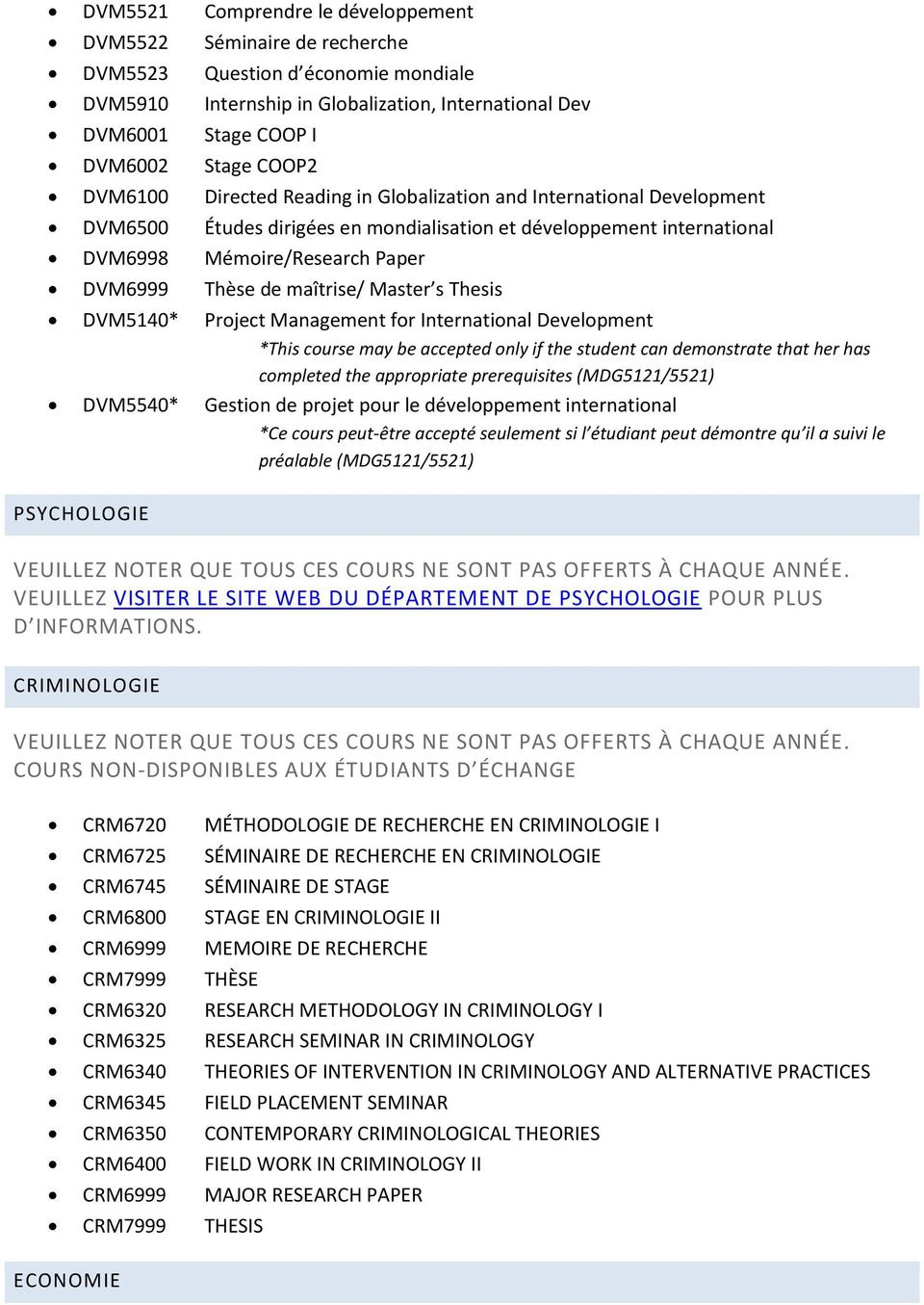 maîtrise/ Master s Thesis DVM5140* Project Management for International Development *This course may be accepted only if the student can demonstrate that her has completed the appropriate