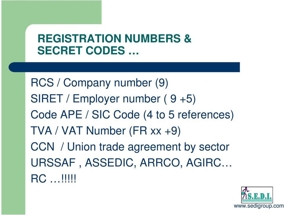 to 5 references) TVA / VAT Number (FR xx +9) CCN / Union