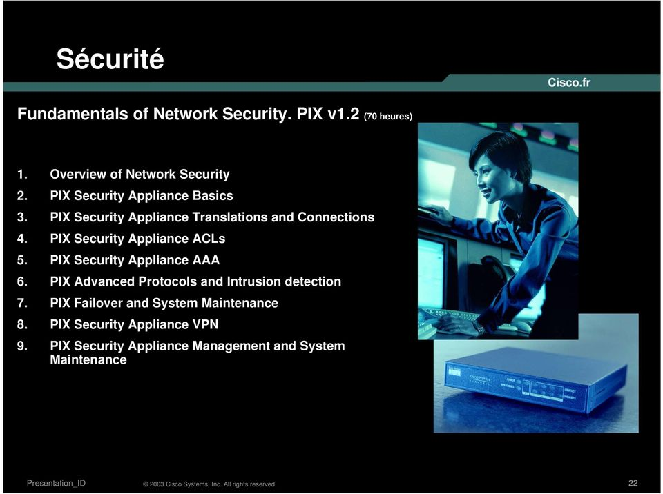 PIX Security Appliance ACLs 5. PIX Security Appliance AAA 6.