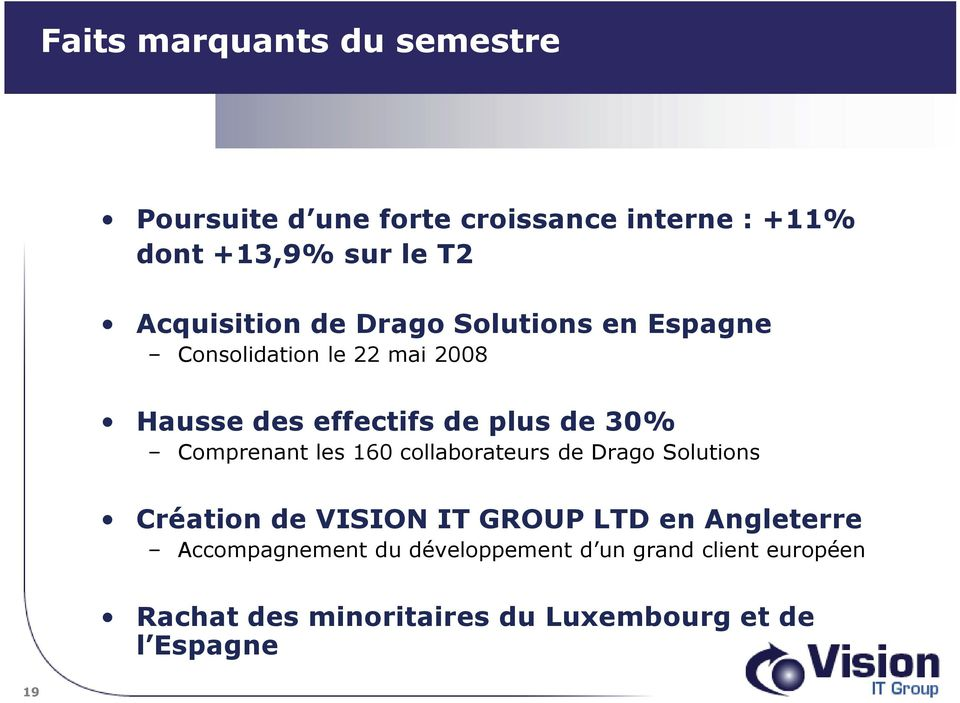 30% Comprenant les 160 collaborateurs de Drago Solutions Création de VISION IT GROUP LTD en Angleterre