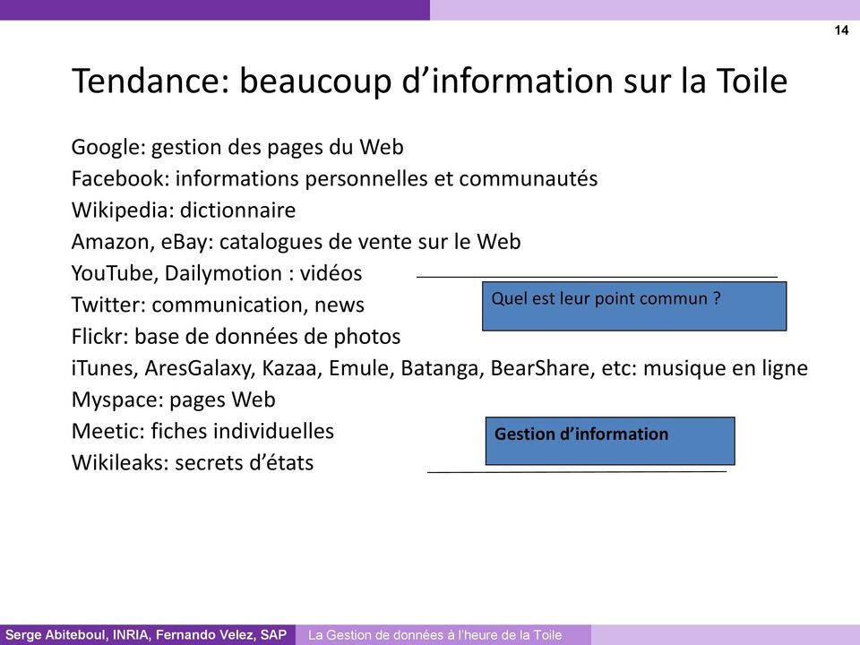 communication, news Flickr: base de données de photos itunes, AresGalaxy, Kazaa, Emule, Batanga, BearShare, etc: musique en