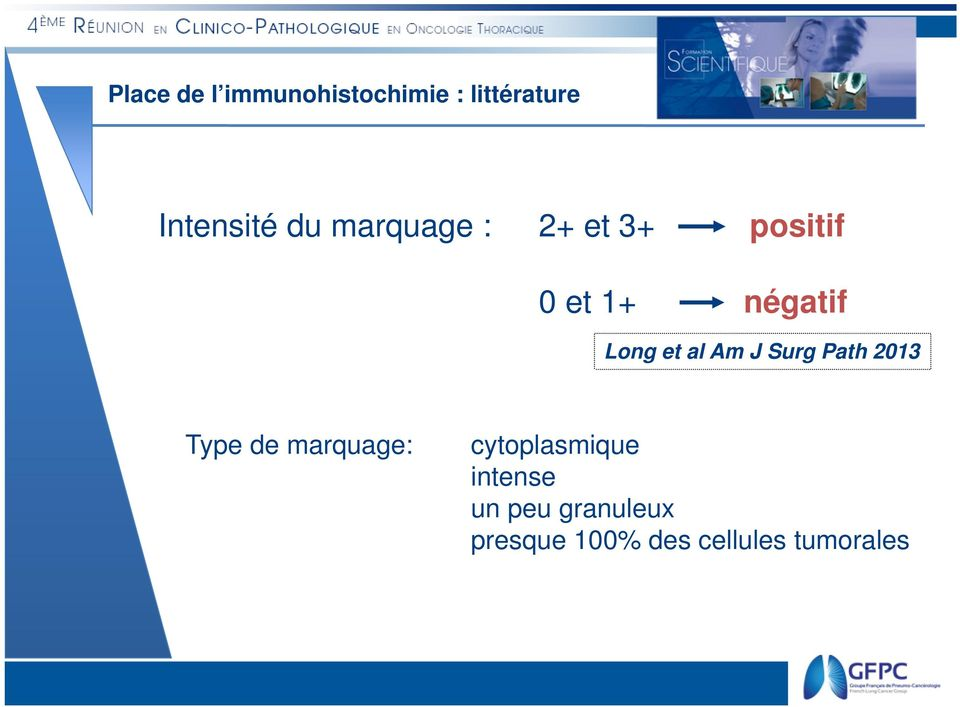 Am J Surg Path 2013 Type de marquage: cytoplasmique