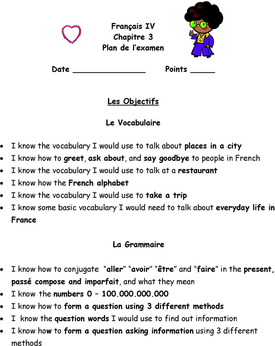 to talk about everyday life in France La Grammaire I know how to conjugate aller avoir être and faire in the present, passé compose and imparfait, and what they mean I know the numbers 0 100.000.