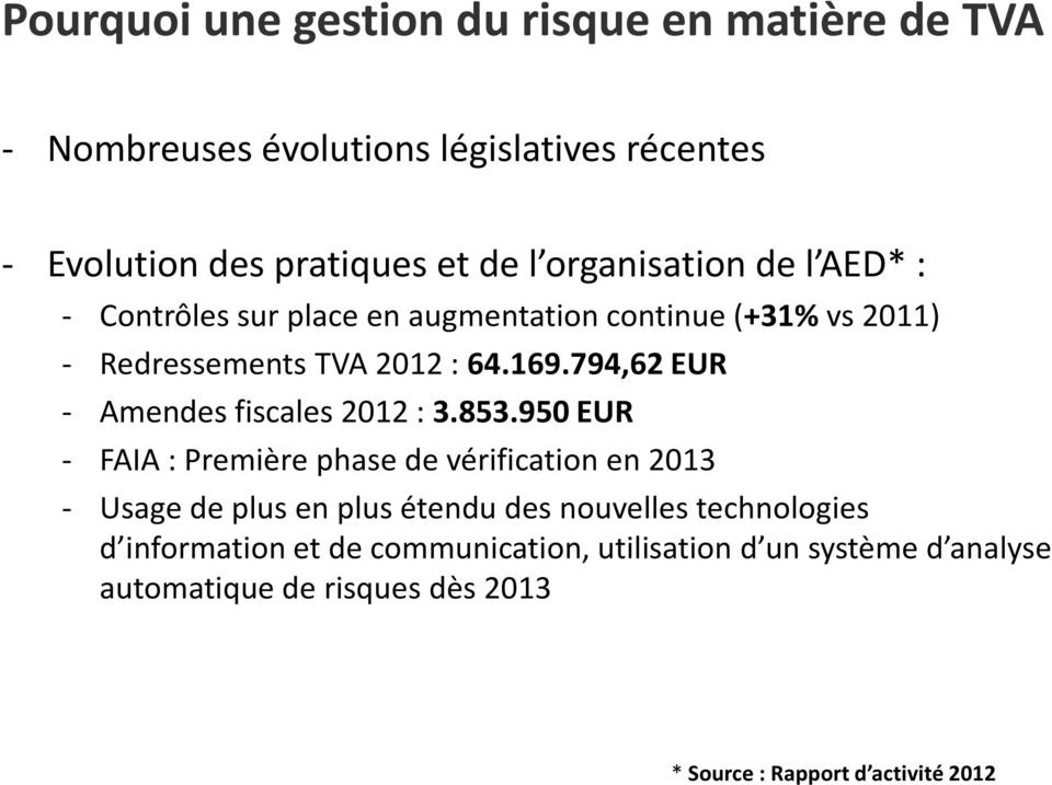 794,62 EUR - Amendes fiscales 2012 : 3.853.