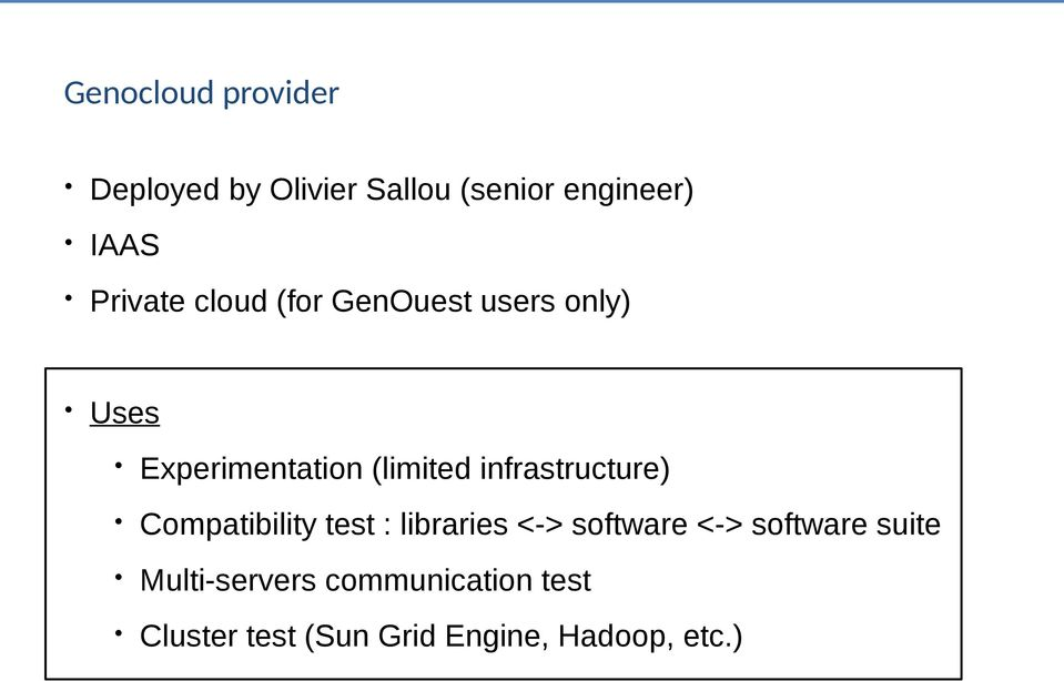 infrastructure) Compatibility test : libraries <-> software <-> software