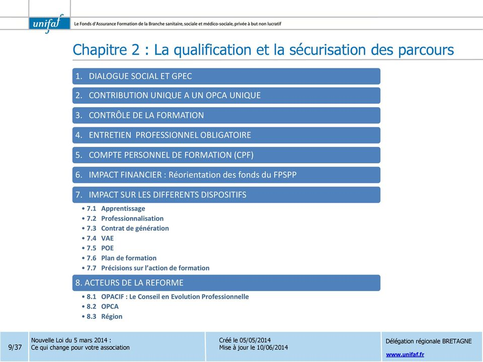 IMPACT FINANCIER : Réorientation des fonds du FPSPP 7. IMPACT SUR LES DIFFERENTS DISPOSITIFS 7.1 Apprentissage 7.2 Professionnalisation 7.