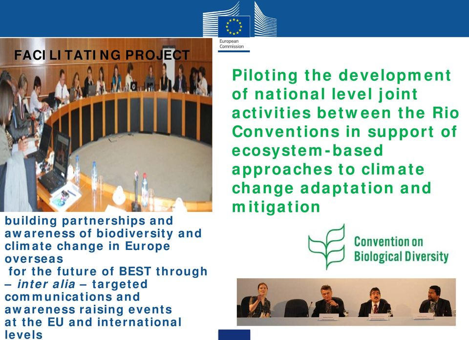 at the EU and international levels Piloting the development of national level joint activities between