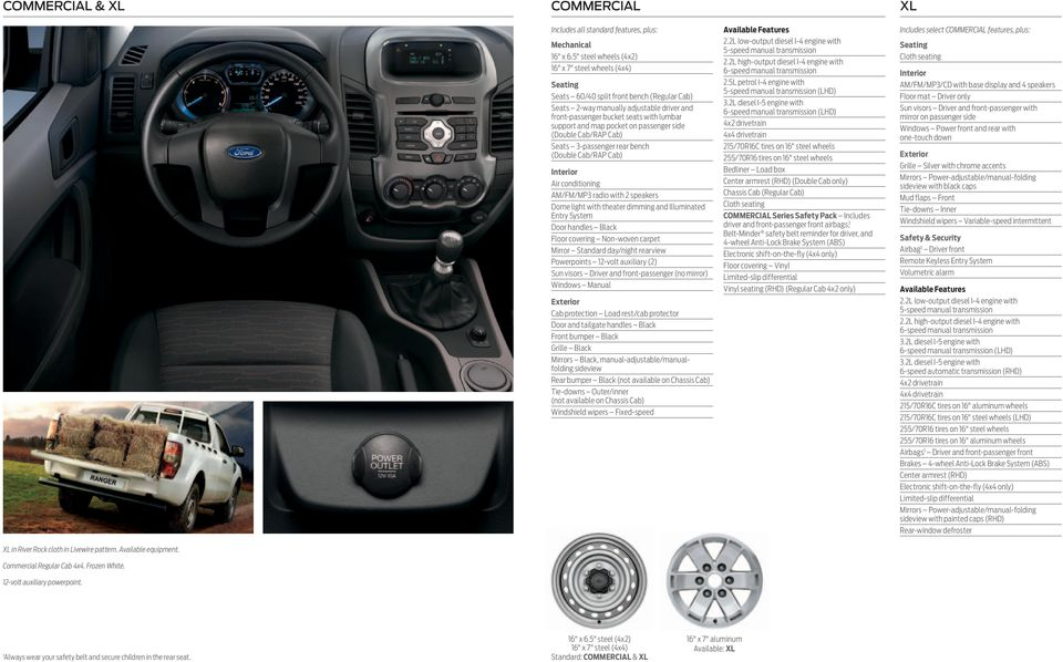 map pocket on passenger side (Double Cab/RAP Cab) Seats 3-passenger rear bench (Double Cab/RAP Cab) Interior Air conditioning AM/FM/MP3 radio with 2 speakers Dome light with theater dimming and