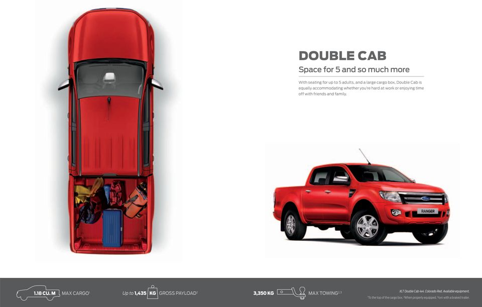 18 CU. M MAX CARGO 1 Up to 1,435 KG GROSS PAYLOAD 2 3,350 KG MAX TOWING 2,3 XLT Double Cab 4x4.