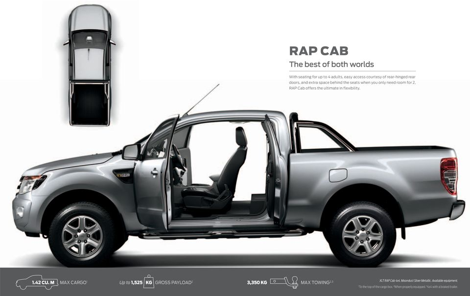 flexibility. 1.42 CU. M MAX CARGO 1 Up to 1,525 KG GROSS PAYLOAD 2 3,350 KG MAX TOWING 2,3 XLT RAP Cab 4x4.