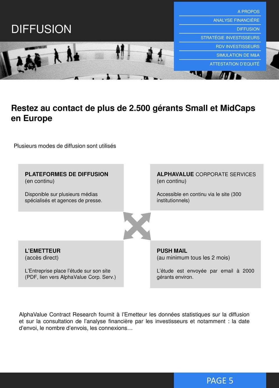 ALPHAVALUE CORPORATE SERVICES (en continu) Accessible en continu via le site (300 institutionnels) L EMETTEUR (accès direct) L Entreprise place l étude sur son site (PDF, lien vers