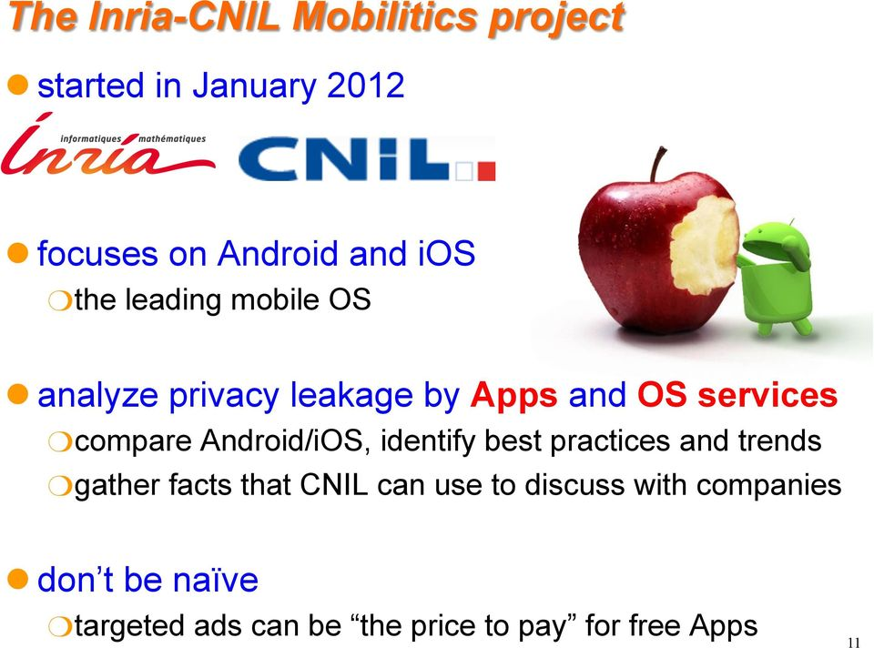 compare Android/iOS, identify best practices and trends gather facts that CNIL can use to
