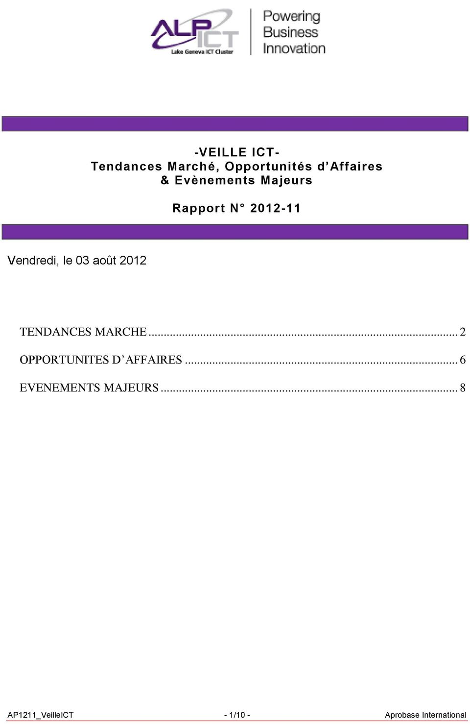 2012 TENDANCES MARCHE... 2 OPPORTUNITES D AFFAIRES.