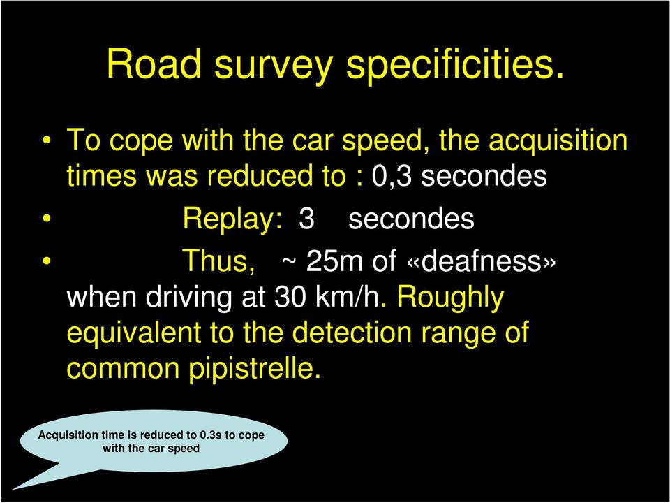 secondes Replay: 3 secondes Thus, ~ 25m of «deafness» when driving at 30