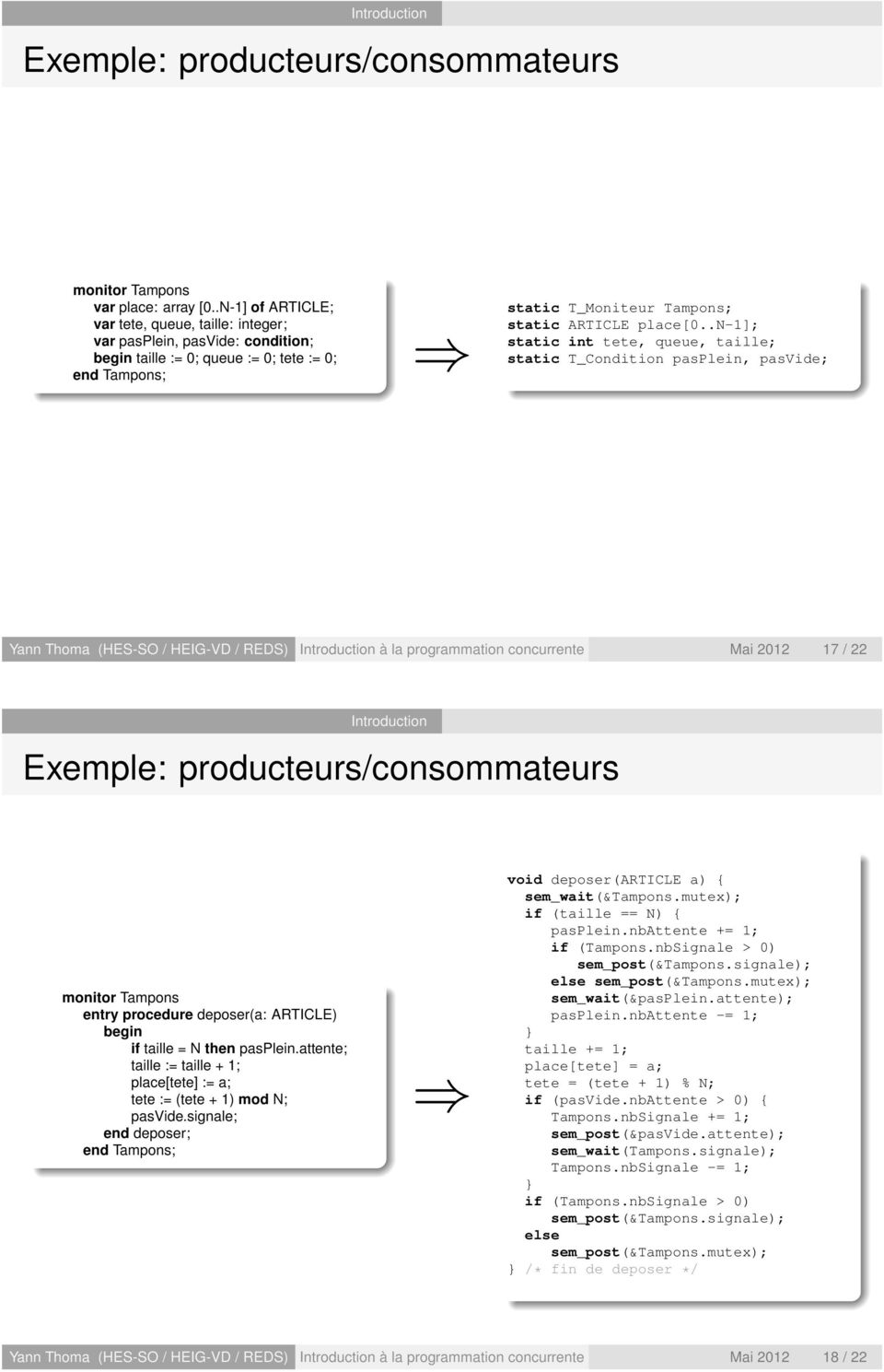 .n-1]; static int tete, queue, taille; static T_Condition pasplein, pasvide; Yann Thoma (HES-SO / HEIG-VD / REDS) à la programmation concurrente Mai 2012 17 / 22 Exemple: producteurs/consommateurs