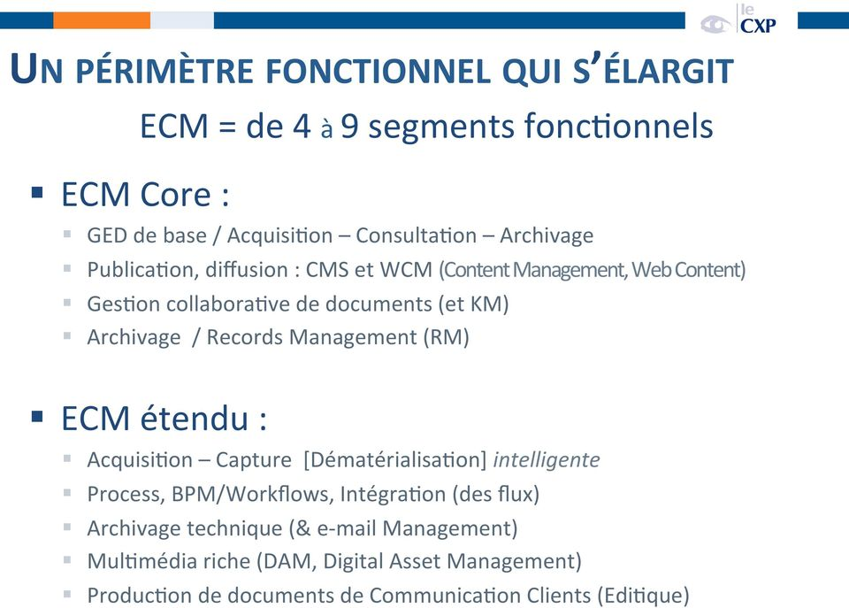 Management (RM) ECM étendu : AcquisiUon Capture [DématérialisaUon] intelligente Process, BPM/Workflows, IntégraUon (des flux)