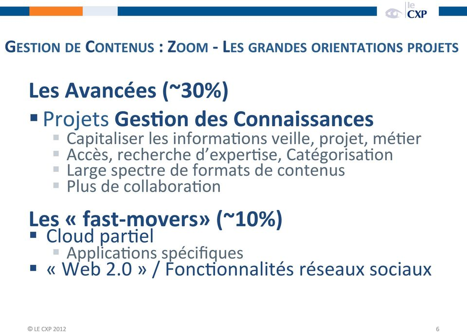 CatégorisaUon Large spectre de formats de contenus Plus de collaborauon Les «fast- movers»