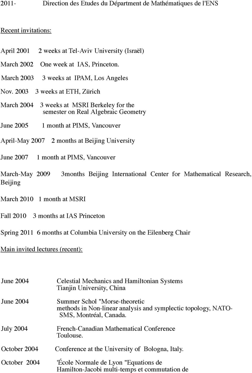 2003 3 weeks at ETH, Zürich March 2004 June 2005 3 weeks at MSRI Berkeley for the semester on Real Algebraic Geometry 1 month at PIMS, Vancouver April-May 2007 2 months at Beijing University June