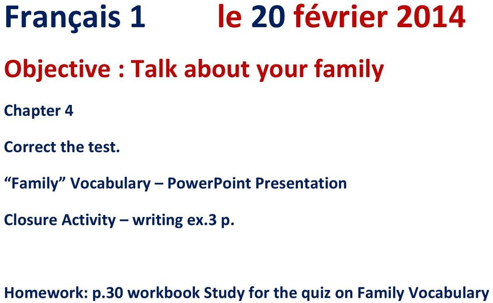 Family Vocabulary PowerPoint Presentation Closure