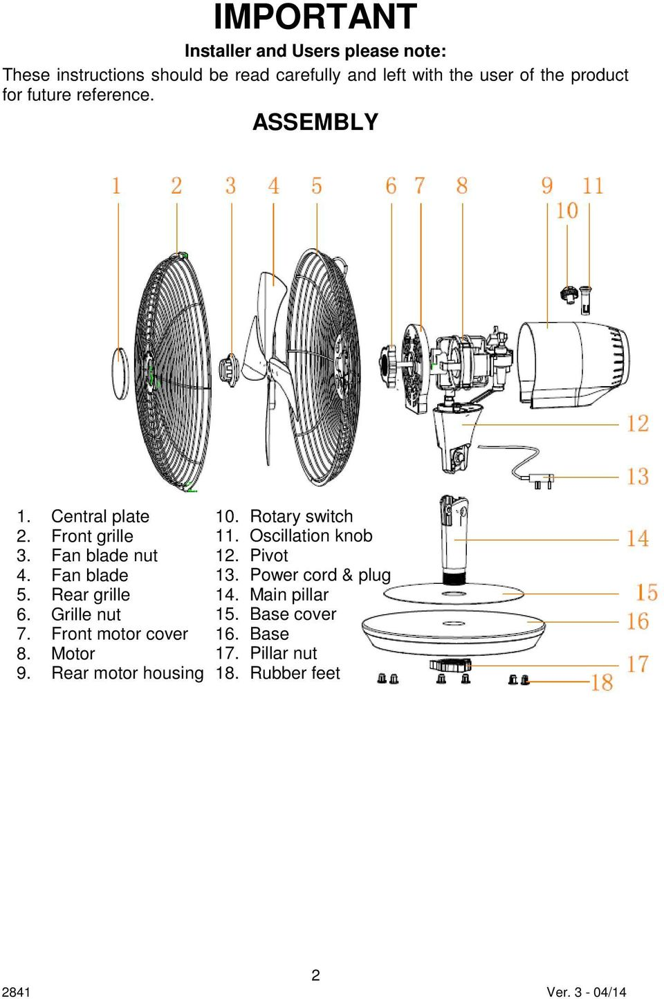 Rear grille 6. Grille nut 7. Front motor cover 8. Motor 9. Rear motor housing 10. Rotary switch 11.