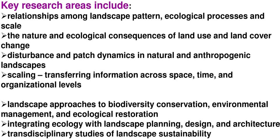 information across space, time, and organizational levels landscape approaches to biodiversity conservation, environmental management,