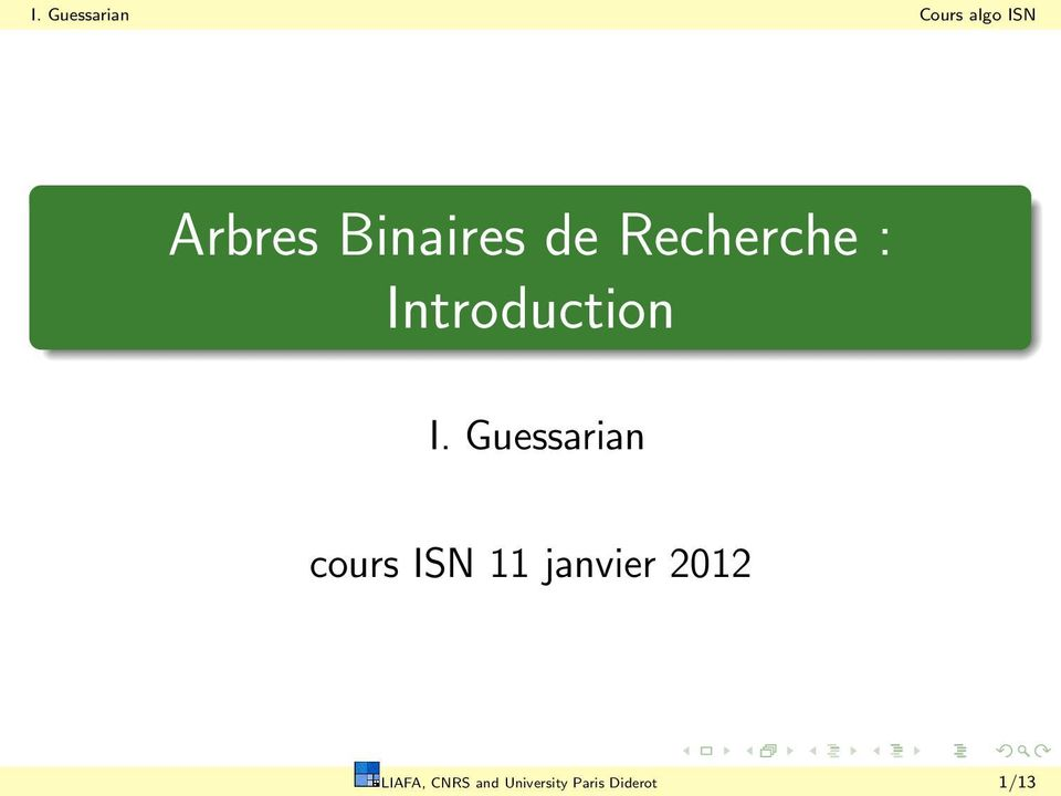 Guessarian cours ISN 11 janvier