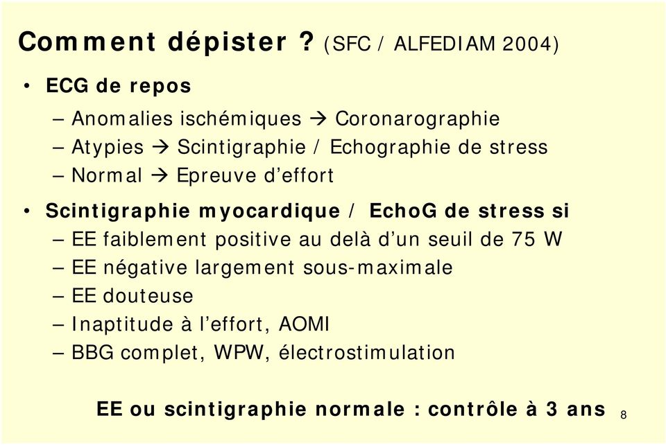 Echographie de stress Normal Epreuve d effort Scintigraphie myocardique / EchoG de stress si EE