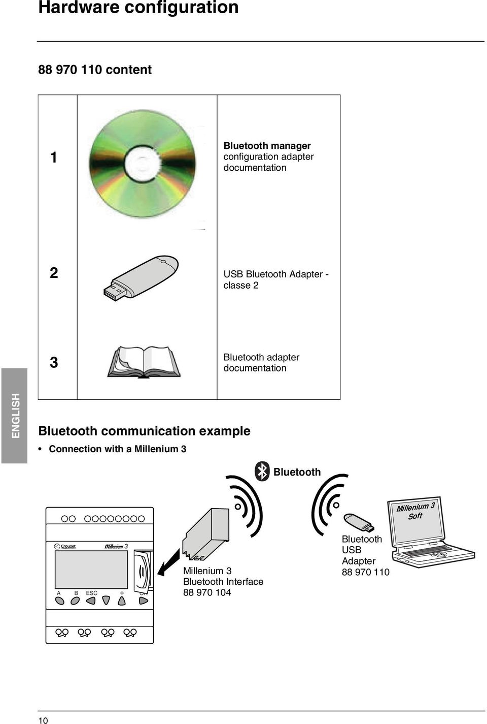 Bluetooth communication example Connection with a Millenium 3 Bluetooth + I1 I2 I3 I4 IB IC ID