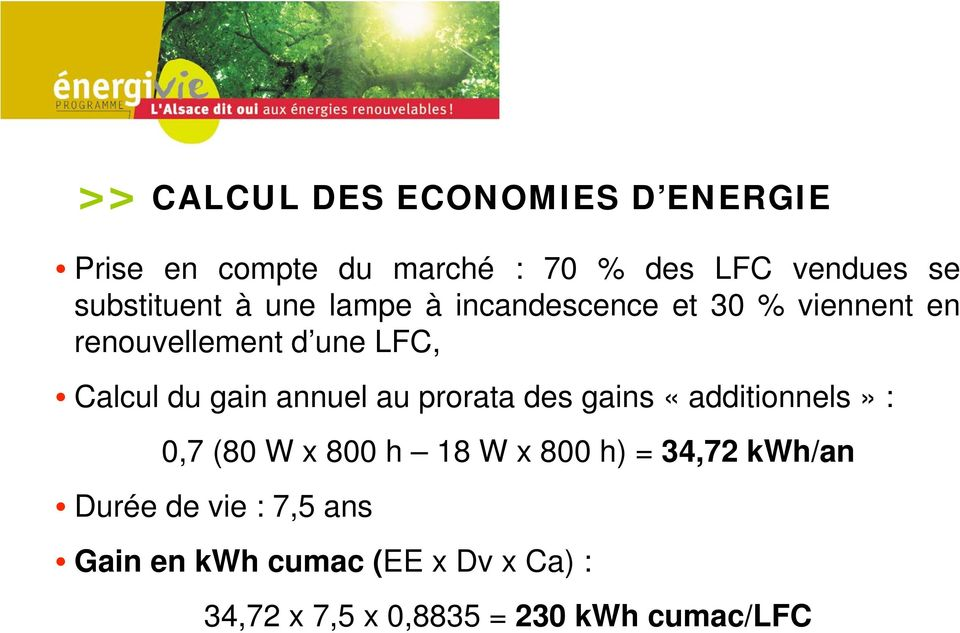 du gain annuel au prorata des gains «additionnels» : 0,7 (80 W x 800 h 18 W x 800 h) = 34,72